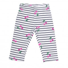 H&M Капри для девочки белые с вишенками в полоску