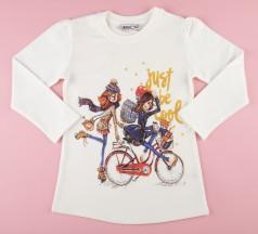 Wanex Футболка с длинным рукавом для девочки белая с девочками на велосипеде