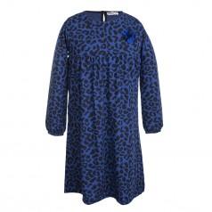 Wanex Платье с длинным рукавом сине-черное пятнистое