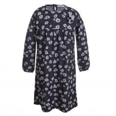 Wanex Платье с длинным рукавом серо-черное пятнистое
