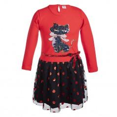 Wanex Платье с длинным рукавом красно-черное с кошкой и фатиновой юбкой