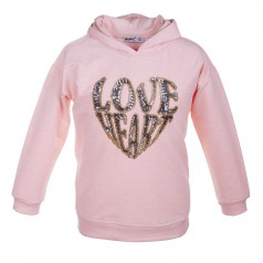 "Wanex Свитшот для девочки розовый ""Love hеart"""