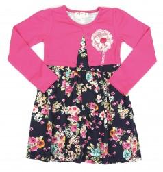 Breeze girls & boys Платье для девочки с длинными рукавами темно-синее с цветами и розовым балеро