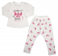 """Breeze girls & boys Комплект детский светло-серого цвета в розовые бантики """"Make your own beat"""""""