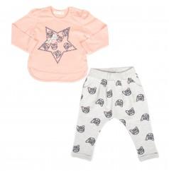 Breeze girls & boys Костюм детский с кошками персиковый лонгслив и серые штаны