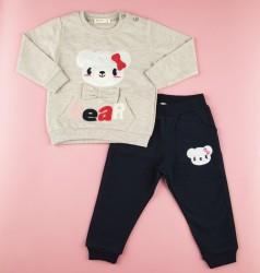 Костюм детский с мишкой бежевый свитшот и синие штаны