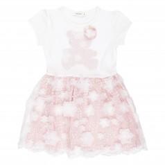 Breeze girls & boys Платье детское пудровое с мишкой с фатиновой юбкой