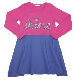 Breeze girls & boys Платье для девочки с длинным рукавом розовый с синим