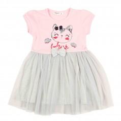Breeze girls & boys Платье детское розовое с кошечкой и серой фатиновой юбкой