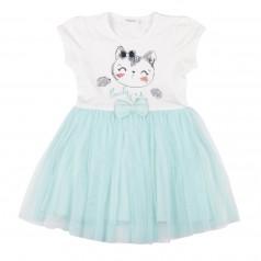Breeze girls & boys Платье бело-бирюзовое с кошечкой