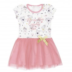 Breeze girls & boys Платье детское с балеринами и розовой фатиновой юбкой