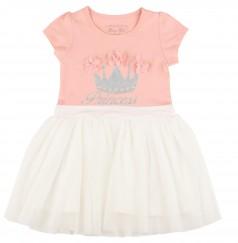 Breeze girls & boys Платье детское для девочки персиковое с белой фатиновой юбкой
