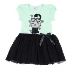 Breeze girls & boys Платье для девочки с кошкой и сердечками мятное с синей фатиновой юбкой