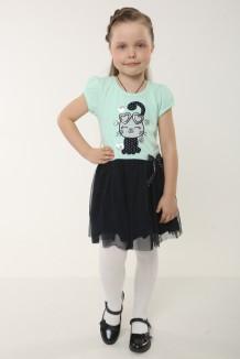 Платье для девочки с кошкой и сердечками мятное с синей фатиновой юбкой