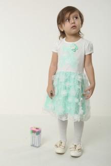 Breeze girls & boys Платье детское с мишкой нежно бирюзовое с белым