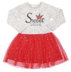 Breeze girls & boys Платье для девочки с длинным рукавом серое с красной фатиновой юбкой