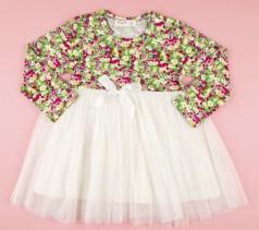 Breeze girls & boys Платье детское с цветами и белой фатиновой юбкой