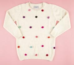 Breeze girls & boys Свитер детский молочный с разноцветными пампонами