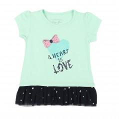 Breeze girls & boys Детская футболка бирюзовая с оборочкой и сердечком