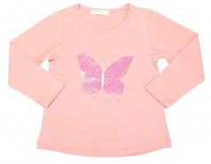 Breeze girls & boys Детская  футболка с длинным рукавом персиковый с пайетками в виде бабочки