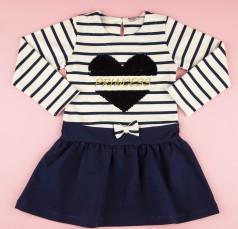 Платья с длинным рукавом для девочки бело-синее в полоску