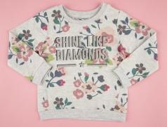 Свитшот для девочки с цветами серый