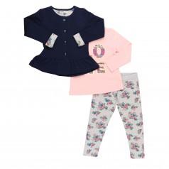 Wanex Комплект детский темно-синий кардиган на застежке розовый реглан и серые леггинсы с цветами