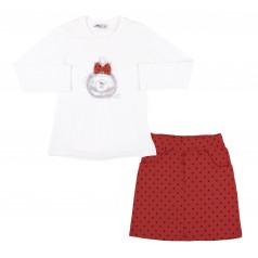 """Wanex Комплект """"My essence"""" красная юбка в черный горох и белый лонгслив"""