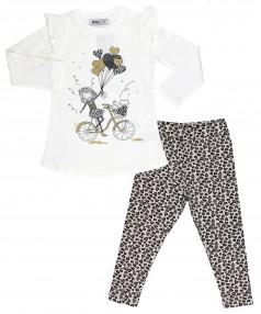 Wanex Комплект детский белая туника и леопардовые леггинсы