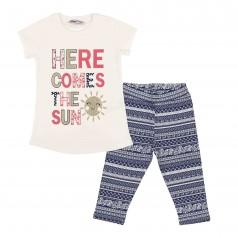 Комплект детский синие леггинсы и белая футболка