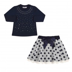 Wanex Комплект детский лонгслив синий в стразах и серая юбка в синий горох