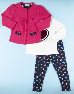 Костюм для девочки розовая кофта на застежке белый лонгслив и синие леггенсы с бабочками