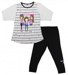 Wanex Комплект детский серый лонгслив в полоску и черные леггинсы