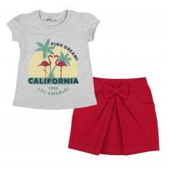 Wanex Комплект детский серая футболка с фламинго и красная юбка