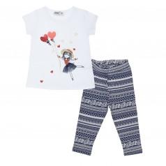 Комплект футболка с девочкой  с шариками и капри