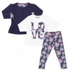 Wanex Костюм для девочки синие леггинсы и кардиган и белый лонгслив с цветами