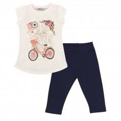 Wanex Комплект детский футболка молочная с цветами на спинке и синие капри