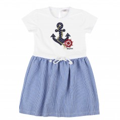 Wanex Платье детское c якорем бело-голубое