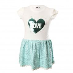 Wanex Платье детское бело-бирюзовое с сердцем и пайетками-перевёртышами