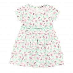 Wanex Платье детское белое с розовыми цветами