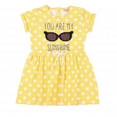 Wanex Платье детское желтое в горох с очками