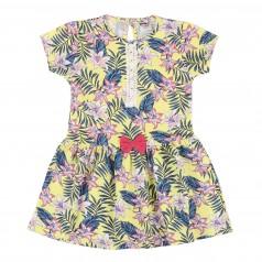 Wanex Платье детское желтое с бантиком и листьями пальм