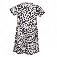 Wanex Платье детское коричневое с принтом жираф
