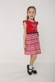 Wanex Платье детское красно - белое с бабочкой
