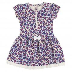 Wanex Платье детское леопардовое синее с бантиком