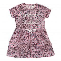 Wanex Платье летнее детское розовое леопардовое со шнурком