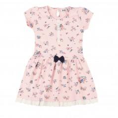 Wanex Платье детское розовое с цветами и бантиком