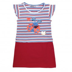 Платье детское полосатое с красной юбкой с божьей коровкой