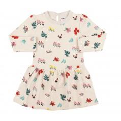 Wanex Платье детское с длинным рукавом молочное с разноцветными кустиками с начёсом