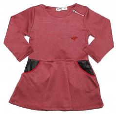 Wanex Платье детское с длинным рукавом бордовое с карманами